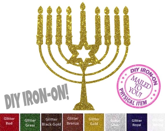 Candles Jewish Hanukkah Menorah Embroidered Iron On Applique Patch