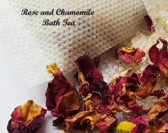 Rose and Chamomile Bath Tea Gift, 3x Bath Teas, Bath Gift, Bath Salts, Bath Tea, Calming, Relaxing and Soothing, Gift for Mum, gift for her