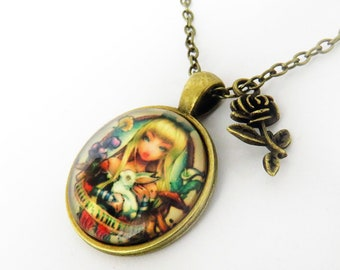 Alice in Wonderland Vintage Necklace Pendant with Rose charm