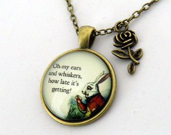 Alice in Wonderland White Rabbit Vintage Necklace Pendant with Rose charm