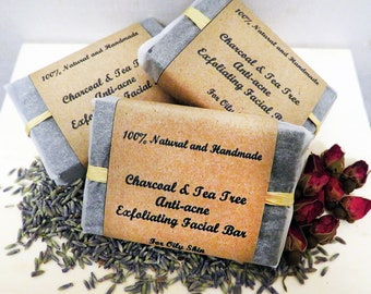 Charcoal Face Bar, Charcoal Tea Tree Peppermint, Exfoliating, Oily skin, Anti Acne, Handmade, Natural, Activated Charcoal Soap, Face Scrub