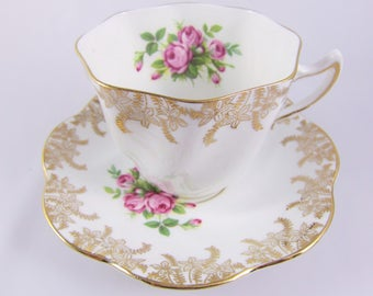 Vintage Royal Taunton Gold Floral Filigree Bone China Cup and Saucer with Pink Roses, Made in England