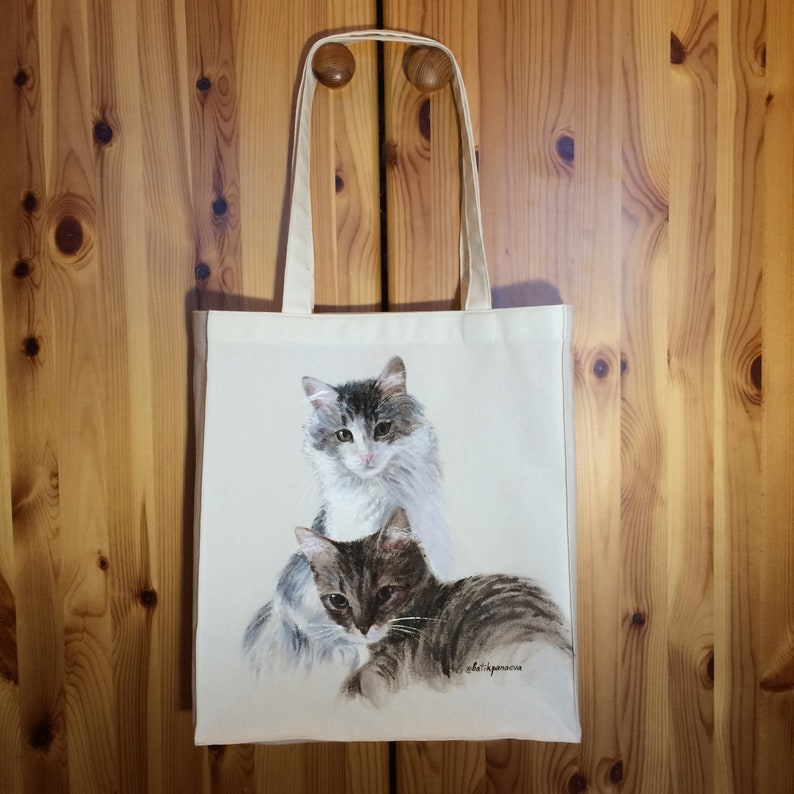 cat canvas bag cat painting from photo Pet tote bag