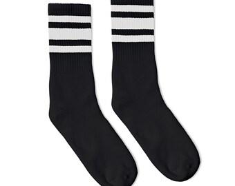 cf9f1639dad Old School Vintage Retro Crew Tube Socks- Black with White Striped socks