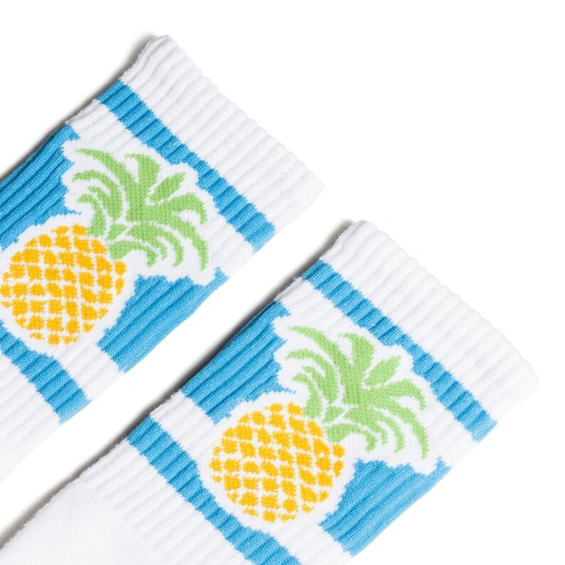 Pineapple Striped socks Old School Vintage Retro Crew Tube Socks
