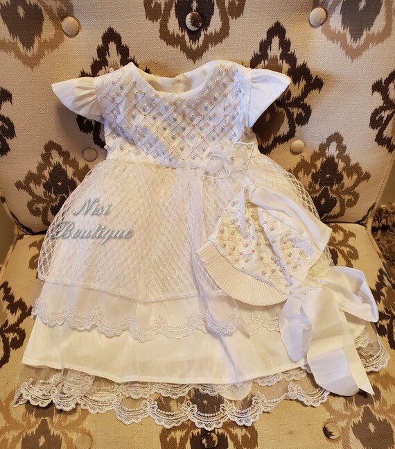 White Baptism Dress, Christening Gown, Baby Girl W