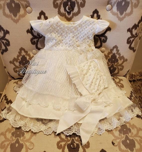 Ivory Baptism Dress, Christening Gown, Baby Girl I