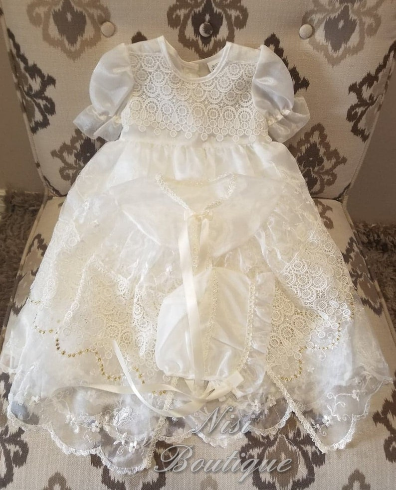 3 Piece Baby Christening Wedding Party Dress Cape Bonnet White Lace Baptism Gown