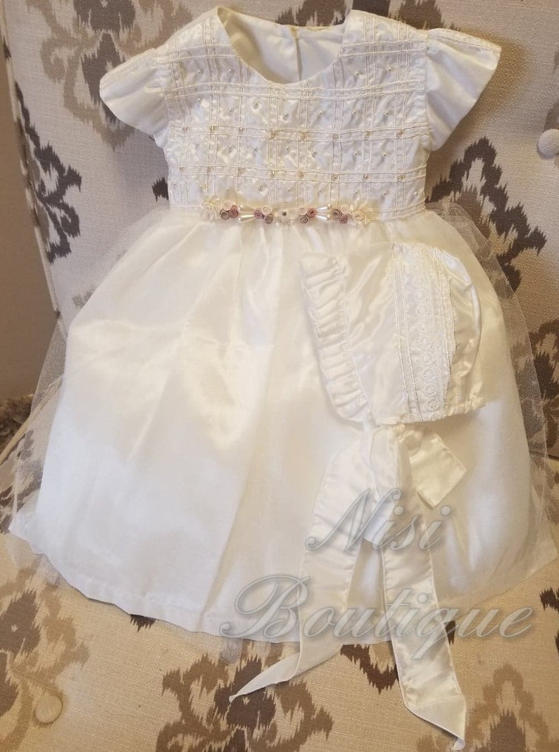 Baby Girl Ivory Dress Special Ocassion Dress Baptism Dress Christening Gown