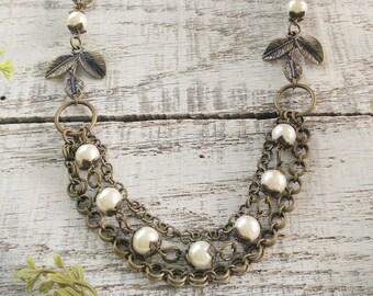 Multistrand Antique Brass Necklace