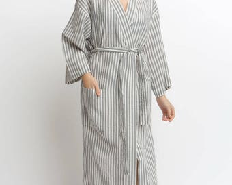 774fcbae92 100% premium quality Turkish organic cotton Gray stripe Luxury super  lightweight bathrobe with same pattern sleepers one day freeshipping.  CHALISKAN