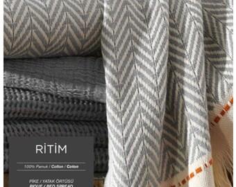 Turkish Cotton Blanket Cal.King, King, Queen, Twin, Throw Blanket, Cotton Bed Cover, Bedspread, coverlet. /