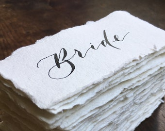 Wedding Place Cards on Handmade Paper   Place Cards   Name Cards   Place Settings