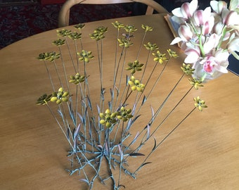 Vintage enamel brass flowers and bee sculture