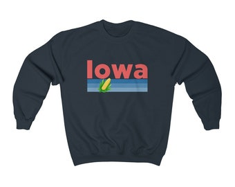 4b969f0f Iowa Crewneck Sweatshirt - Retro Corn & Farming Unisex Iowa Sweatshirt
