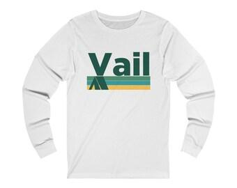 378f460e8cff Vail, Colorado Long Sleeve Shirt - Retro Camping Adult Unisex Vail T Shirt