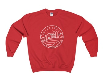 Wisconsin Sweatshirt - State Design Adult Unisex Crewneck Wisconsin  Sweatshirt 019a0286b