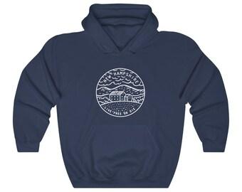 New Hampshire Hoodie - State Design Adult Unisex New Hampshire Sweatshirt