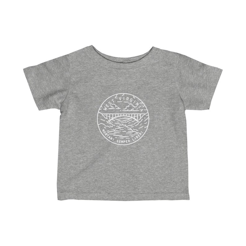 State Design Unisex West Virginia Baby  Newborn T Shirt West Virginia Infant Shirt