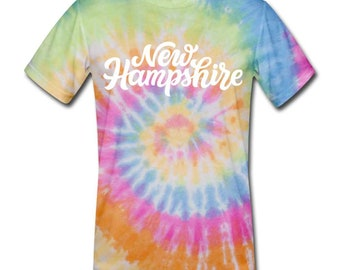 New Hampshire Tie-Dye T-Shirt - Hand Lettered New Hampshire Unsex T Shirt