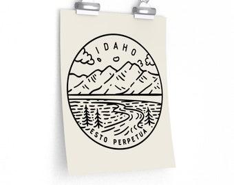 Idaho Poster - State Design  Idaho Print / Picture / Hand Drawn Art