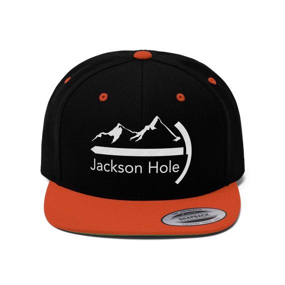 Jackson Hole, Wyoming Hat Snapback High Bill - Unisex Flat Bill Jackson  Hole Hat with Mountaineer Design
