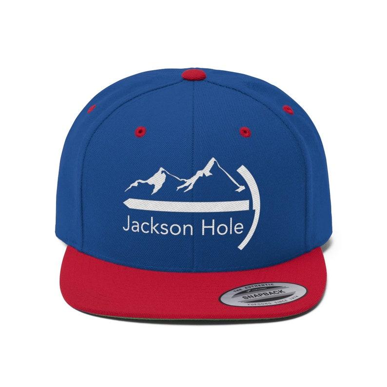 0a05efaf57ebe1 Jackson Hole Wyoming Hat Snapback High Bill Unisex Flat | Etsy