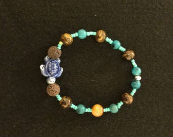 Blue Turtle Diffuser Bracelet with Brown Beads