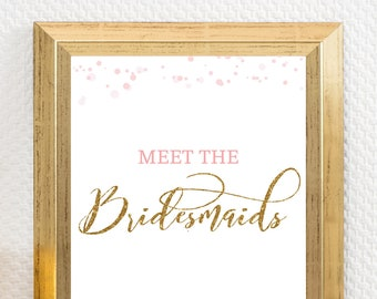 Date night ideas for the bride to be pink and gold bridal etsy meet the bridesmaids sign meet the groomsmen sign meet the wedding party sign bridal shower ideas pink and gold bridal shower pdots m4hsunfo
