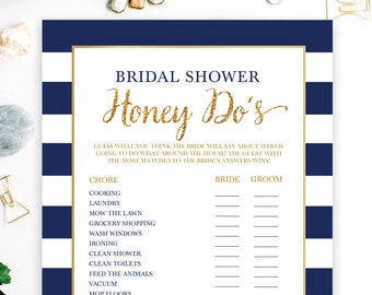 Bridal Honey Do's Printable Bridal Shower Game - Navy and Gold - Bridal Shower Game - Instant Download - NB001