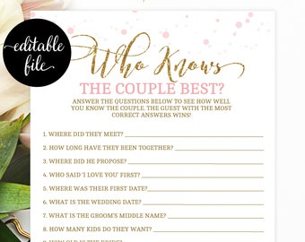 who knows the couple printable bridal shower games bachelorette party hen party game pink and gold instant download gold glitter pdot