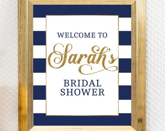 welcome sign bridal shower wedding shower bachelorette party navy gold nautical bridal bridal shower ideas hen party navy1