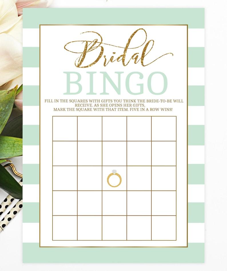 2917251ee899 Bridal Bingo Bridal Shower Games Mint to Be Bridal Shower