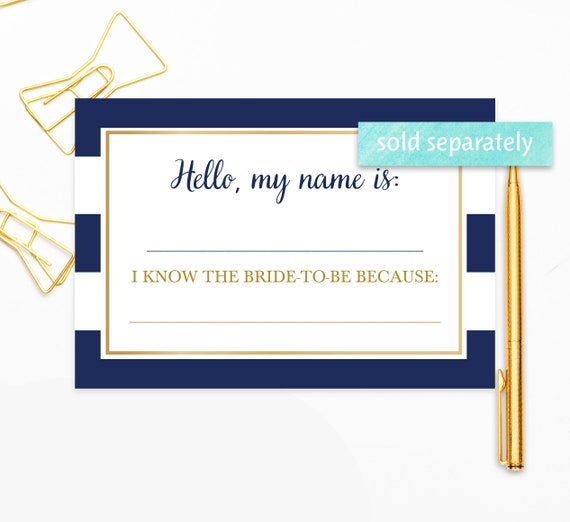 Blank Name Tags, Wedding Name Tags, Navy and Gold, Navy Blue Bridal Shower,  Name Stickers, Avery Name Tags, Adhesive Name Badges, nb001