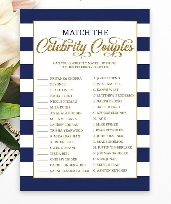 Celebrity Couple Quiz Bridal Shower Game Wedding Shower Bachelorette Navy Gold Nautical Hen Party Bridal Shower Ideas Navy1
