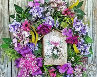 Large Spring Wreath-Birdhouse Wreath-Birdhouse-Summer Wreath-Purple Wreath-Floral Door Wreath-Hydrangea Wreath For Front Door-Wreath-Wreaths