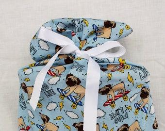 Cloth Gift bag - Pug Gift Wrap -Reusable Gift Bag, Eco Friendly Gift Bag (Large)