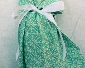 Cloth Gift bag - Blue Gift Wrap - Reusable Gift Bag, Eco Friendly Gift Bag (Medium)