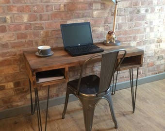 Rustic Handmade Industrial Style Vintage Retro Office Desk Console Table  With Metal Hairpin Legs
