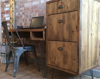 Ordinaire Rustic Industrial Style Vintage Retro Office Filing Cabinet / Drawers /  Tallboy With Metal Hairpin Legs