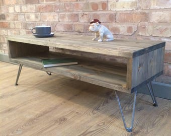 "Rustic Industrial Weathered Wood Style Vintage Retro Coffee Table / TV CabinetWith 8"" Hairpin Legs"