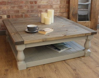Large Square Handmade Solid Pine Farmhouse Coffee Table 0051