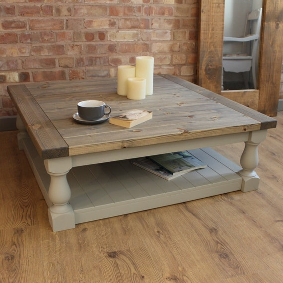 Large Square Handmade Solid Pine Farmhouse Coffee Table Etsy