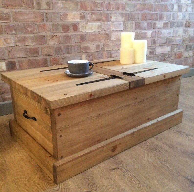 Handmade Rustic Wooden Chest Large Trunk Pine Blanket Toy Box Or Coffee Table
