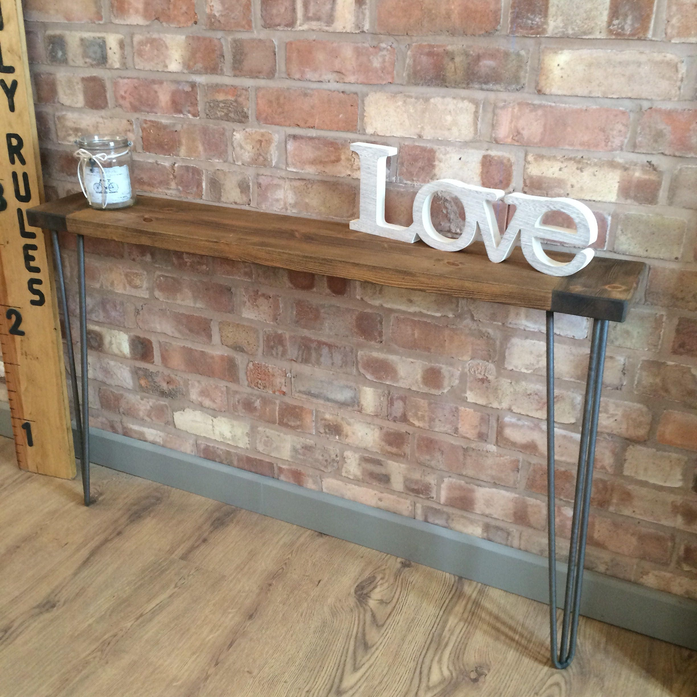 Taller Narrow Industrial Reclaimed Style Console Table Hall Table Radiator Shelf Table With Hairpin Legs