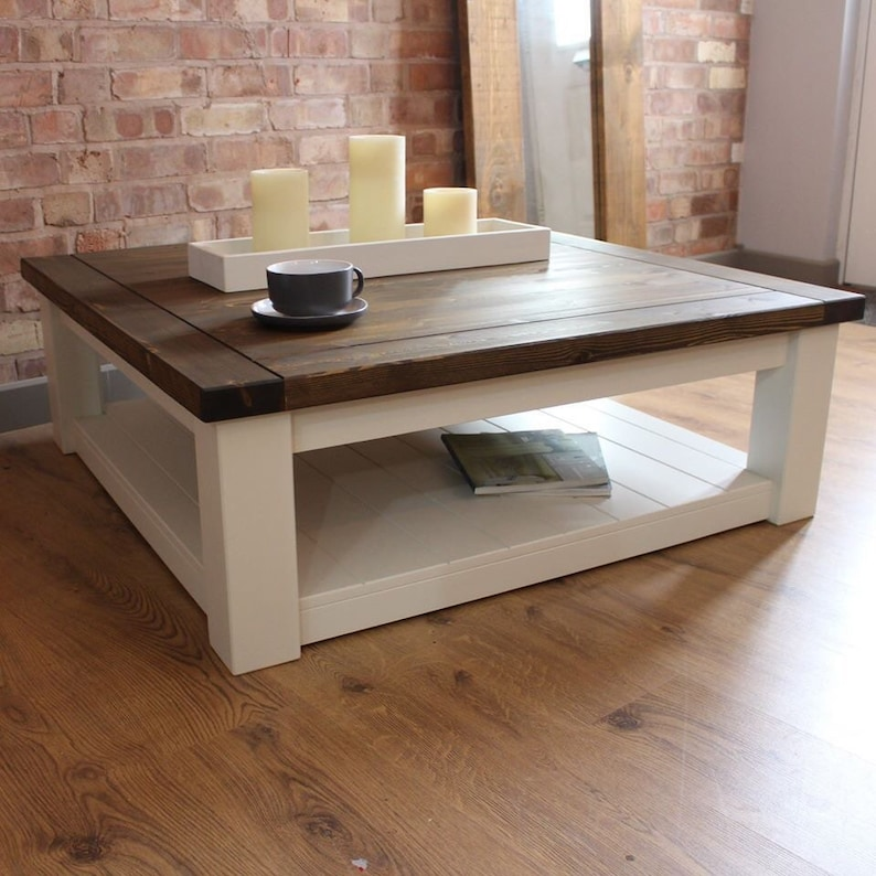 Solid Pine Coffee Table.Large Square Handmade Solid Pine Farmhouse Coffee Table