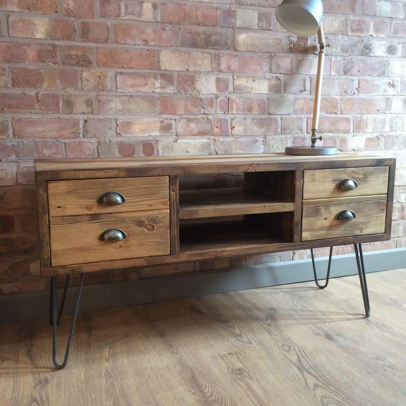 rustic industrial style vintage retro tv cabinet with metal hairpin legs