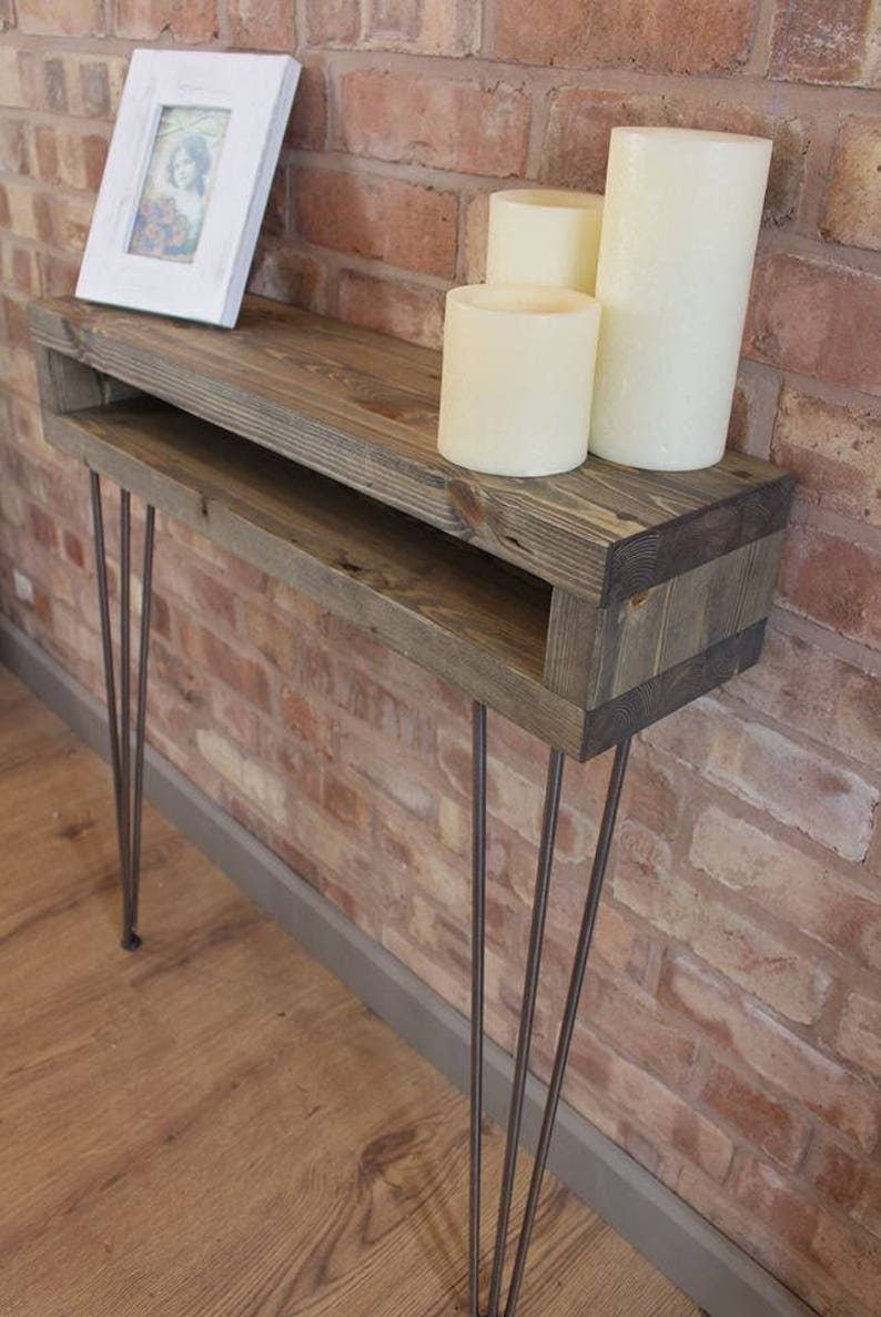 Narrow Industrial Reclaimed Style Console Table Hall Table Radiator Shelf Table With Hairpin Legs