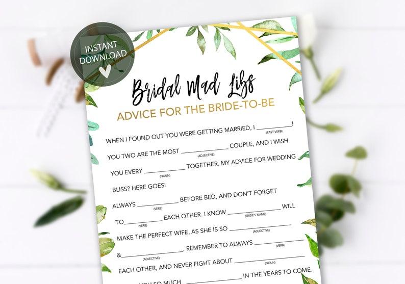Bridal Mad Libs, Bridal Shower Games Printables, Bridal Shower Game Idea,  Bridal Shower Instant Download, Wedding Game, Bridal Shower Games