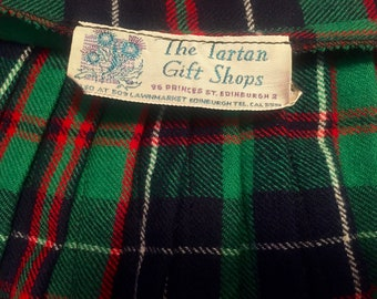 0d7c93ab13 Vintage Green Scottish Tartan Wool Skirt Authentic